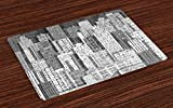 Lunarable New York Place Mats Set of 4, High Buildings of Metropolitan Life Skyscrapers and Twin Towers, Washable Fabric Placemats for Dining Room Kitchen Table Decor, Charcoal Grey White and Grey