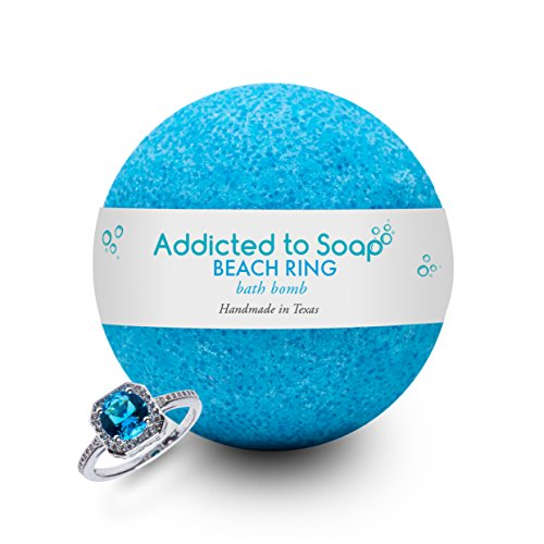 Addicted to Soap - Beach Ring Bath Bomb | Ultra Luxurious - Extra Large 6oz Bath Bomb with STERLING SILVER RING Surprise Inside - Organic & Sensual Relaxation Handmade in Texas