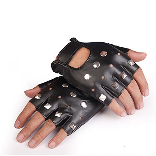 Yingniao PU Leather Fingerless Stud Metal Motorcycle Gloves Rock Gothic Punk Style