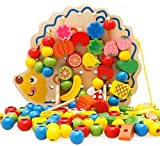 Eshowy Wooden Fruits and Vegetables Lacing & Stringing Beads Toys with Hedgehog Board for Above 3 Years Old Kids