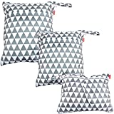 Damero 3pcs Wet and Dry Cloth Diaper Bag, Travel Packing Organizer with Handle for Cloth Diaper, Pumping Parts, Clothes and More, Easy to Grab and Go, Gray Triangle