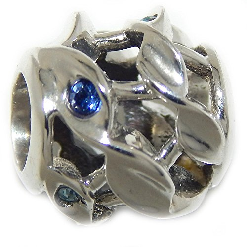 PJEWELRY 925 Solid Sterling Silver Barrel with Twisted Rope Design and Blue CZ Charm Bead