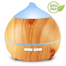 Essential Oil Diffuser,Holan 250ml Wood Grain Aromatherapy Diffuser Ultrasonic Aroma Diffuser Cool Mist Humidifier with Low Water Auto Shut-off, 7 Color LED for Office Home Bedroom Study Yoga Spa