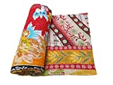 quilt gypsy - Vintage Kantha Quilt Handmade Indian Cotton Bedspread Gypsy Bedding Throw