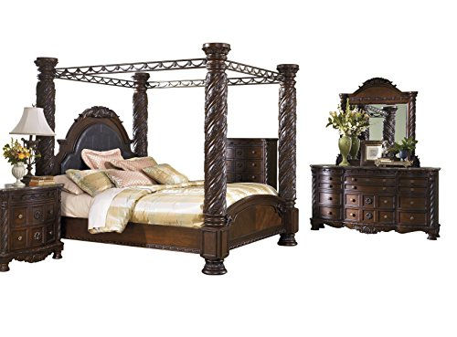 King California Set Bed Poster (Ashley North Shore 5PC Bedroom Set Cal king Poster Canopy Bed Dresser Mirror One Nightstand Chest in Dark Brown)