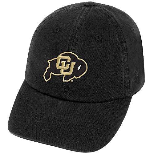Top of the World NCAA Colorado Buffaloes Men's Adjustable Hat Relaxed Fit Team Icon, Black (Baseball Buffaloes Colorado)