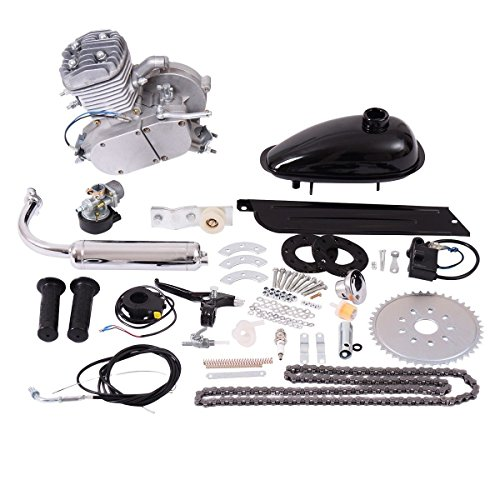 2 Stroke Gas Engine (Goplus 80cc 2-Stroke Bicycle Gasoline Motorized Gas Engine Motor Kit (Silver))