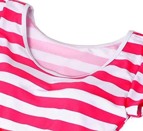 Las Mujeres Falda de Una Sola Pieza Traje de Baño Rayado Bikini , pink , L