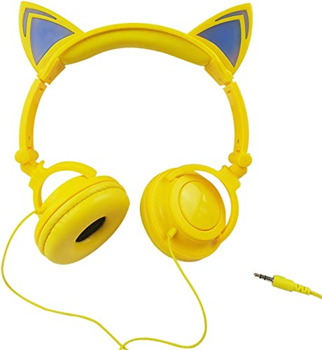 Jamsonic LED Light Up Foldable Cat Ear Headphones use for Phones, PC, MP3, MP4 Yellow Blue