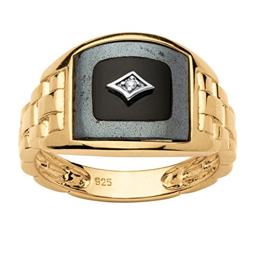 Onyx Nugget (Men's Black Reconstituted Onyx Diamond Accent 18k Gold over .925 Silver Classic Ring)