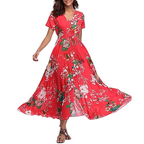 - Ruffled Dresses Women's Bohemian Sunflower Printed Wrap V Neck Short Sleeve Bandage Split Beach Party Maxi Dress Red