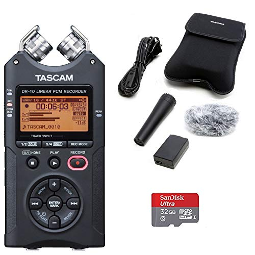 (TASCAM DR-40 Digital Recorder with Accessory Kit and 32GB Micro SD Card)