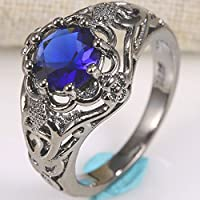 phitak shop Natural Tanzanite Ring 925 Silver Vintage Wedding Engagement Size 6 7 8 9 10 (6)