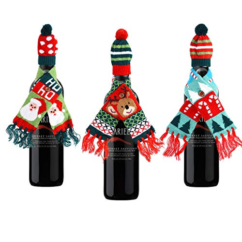 Christmas Wine Bottle Gift Wrapping Lovely Sweater Scarf and hat Set of 3
