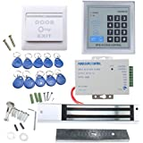 RFID Door Access Control System Kit, AGPtEK Home Security System With 280kg 620LB Electric Magnetic lock 110-240V AC to 12v DC 3A 36w Power Supply Proximity Door Entry keypad 10 Key Fobs EXIT Button