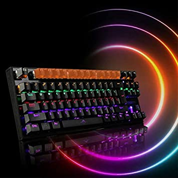 Mechanical Keyboard USB Wired Colorful LED Backlight 87 Keys Anti-Ghosting Gaming Accessories GOLDEN2STAR