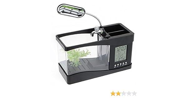 Escritorio Mini acuario pecera w / USB LCD temporizador reloj LED lámpara luz negra: Amazon.es: Hogar