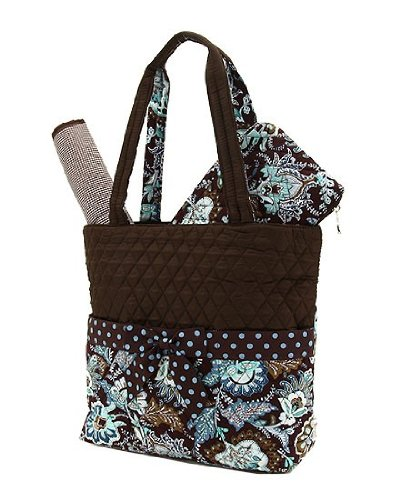 Belvah Quilted Flower Paisley Blue Diaper Bag with Changing Pad (15x10x5.5)