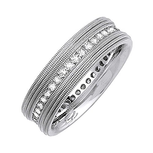 Diamond Love Knot Eternity Ring (0.63ct TDW White Diamonds 14K White Gold Love Knot Women's Wedding Band (G-H, SI1-SI2) (7mm) Size-8c2)