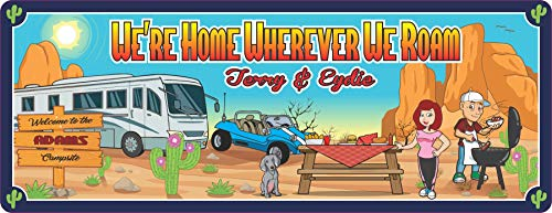 Custom Camping Sign with Motor Home and Desert Scene - Personalized RV Sign - RV Camper Decor