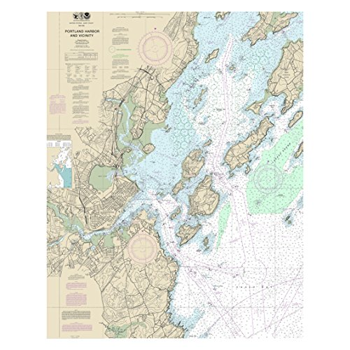 (Portland Harbor Maine Nautical Chart Unframed Vinyl Art Print - Perfect for indoors / outdoors. All-weather.)