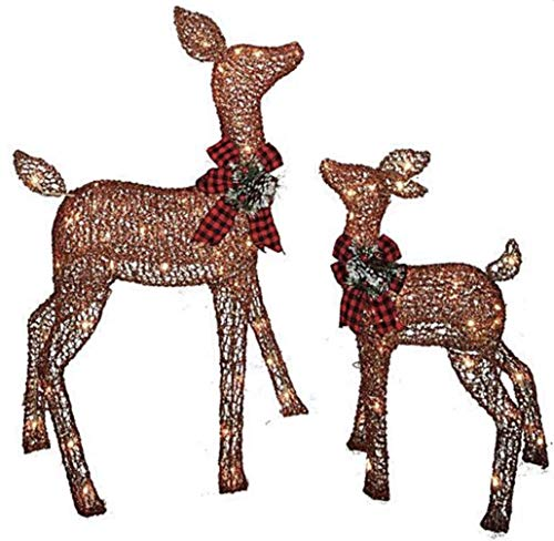 Pre-lit Glittering Brown Light Up Doe and Fawn Deer Santa Reindeer 2-Piece Lawn Yard Holiday Christmas Decoration (Decorations Reindeer Outdoor)
