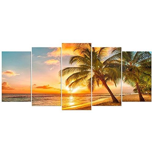 Wieco Art Cozy Sea Extra Large Modern Seascape 5 Panels Giclee Canvas Prints Artwork Sea Beach Pictures Paintings on Canvas Wall Art for Home Decorations Wall Dcor