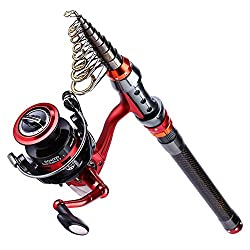 Yongzhi Rod & Reel Combo Carbon Fiber Telescopic Fishing Poles & Spinning Reels Saltwater For Bass Trout