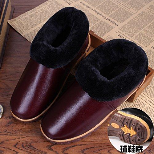 Soggiorno caldo inverno scarpe impermeabili tendine di manzo fondo cuoio pantofole di cotone confezione con cotone scarpe anti-slittamento 27 (39-40), due-retro di colore viola chiaro