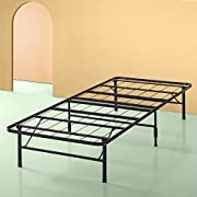 Sleep Master - Platform Metal Bed Frame/Foundation Set(SmartBase + Metal Brackets for Headboard & Footboard Attachment + Bed Skirt - Twin) - Perfect for Spring, Latex, and Memory Foam Mattresses