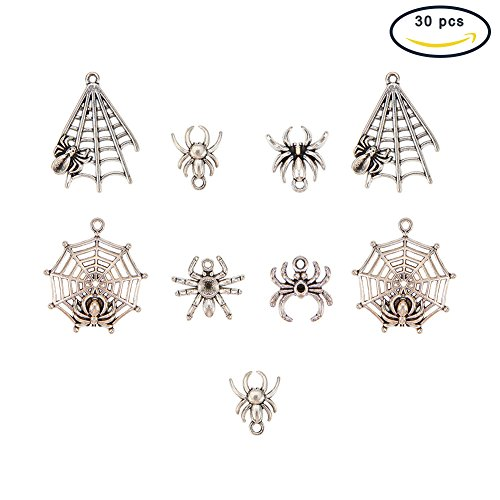 Halloween Pendant Charm (Pandahall 30PCS Spider & Web Theme Tibetan Style Alloy Pendants for Halloween)