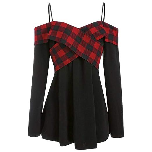 8b7596e42e8dd7 Amazon.com  FEDULK Women s Plus Size Tunic Plaid Print Cross Patchwork Off  Shoulder Sling T-Shirt Blouse Tops  Clothing