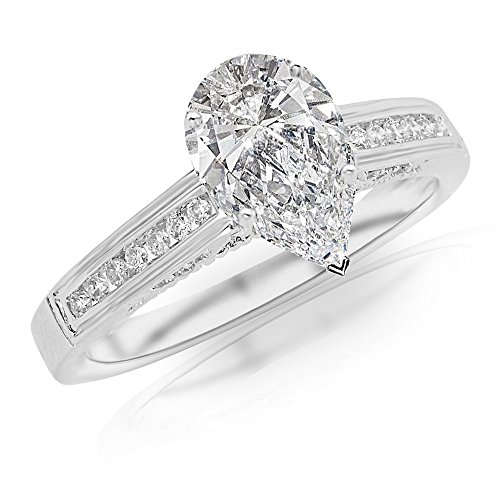 0.75 Ctw 14K White Gold Channel Set Round Pear Cut Diamond Engagement Ring (0.5 Ct D Color SI2 Clarity Center Stone) ()