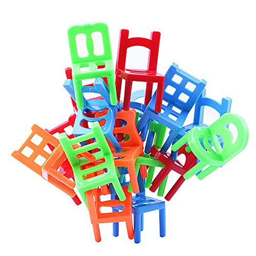 SODIAL 18Pcs Balance Chairs Balance Game Children Kids Educational Balance Toys Puzzle Balance Game ABS - Stacking Chair Game
