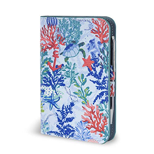 - Vera Bradley Leatherette Pocket Journal with Black Ink Pen, Shore Thing