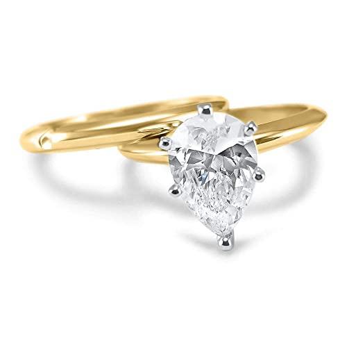 Amazon Com 1 5 Carat Or 2 Carat Forever One Pear Moissanite