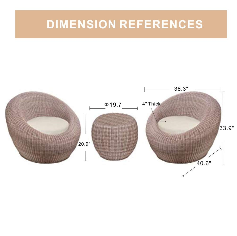 Quality Outdoor Living 65-517547 Aspen Chat Set, Wicker Tan Cushions