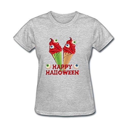 Jocersen Women's Halloween Ice Cream Eyes Fashion Short Sleeve T-Shirt (Halloween Weather Nashville)