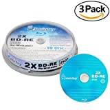 30 Pack Smartbuy 2 x 25GB Blue Blu-ray BD-RE Rewritable Branded Logo Blank Bluray Disc