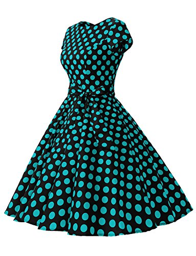 Dressystar Vestidos Mujer Corto Retro Vintage Con Mangas Cortas Rockabilly Black Blue Dot B