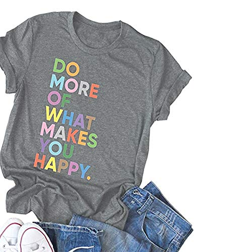 Deyuanjiagou Women's Fun Happy Graphic Tees Summer Cute Round Neck Short Sleeve Letter Printed T-Shirts Light Grey]()