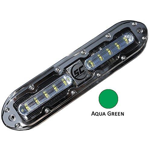 Shadow-Caster LED Lighting SCM-10-AG-20 Shadow-Caster Aqua Green 10 Led Underwater Light W/20 Ft