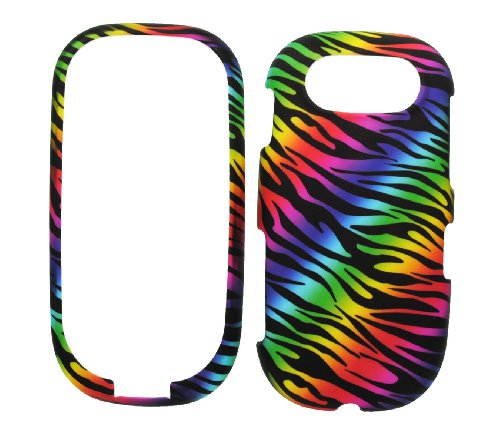 Zebra Rubberized Snap (Dark Rainbow Zebra Rubberized Snap on Hard Skin Shell Protector Cover Case for Pantech Ease P2020)