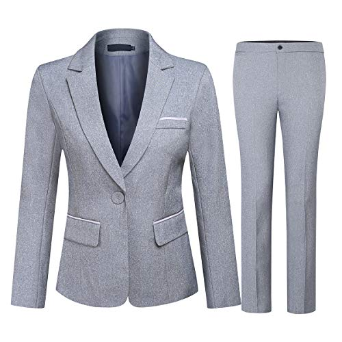 Women's 2 Piece Office Lady Business Suit Set Slim Fit Blazer Pant (Suit Set-Grey1, XL)