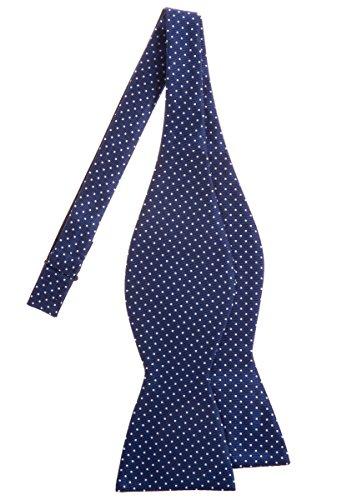 Retreez Modern Mini Polka Dots Woven Microfiber Self Tie Bow Tie - Navy Blue with White Dots