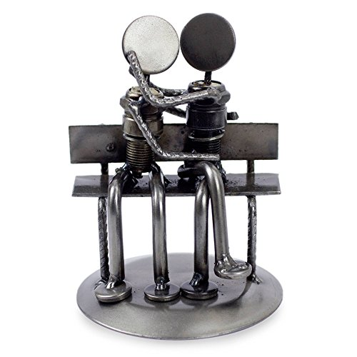 NOVICA Recycled Auto Parts Romantic Metal Sculpture, 4.7