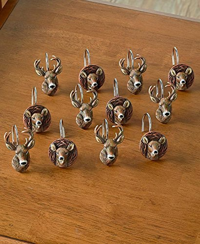 Set Of 12 Cold Snap Deer Shower Curtain Hooks