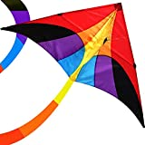 emma kites Reverie 60in Delta Kite Rainbow for Beginner Kids Adults Easy to Fly - RTF Kit including Kite Tail & 320ft Kite String - for Spring Breeze, Outdoor Games Activities