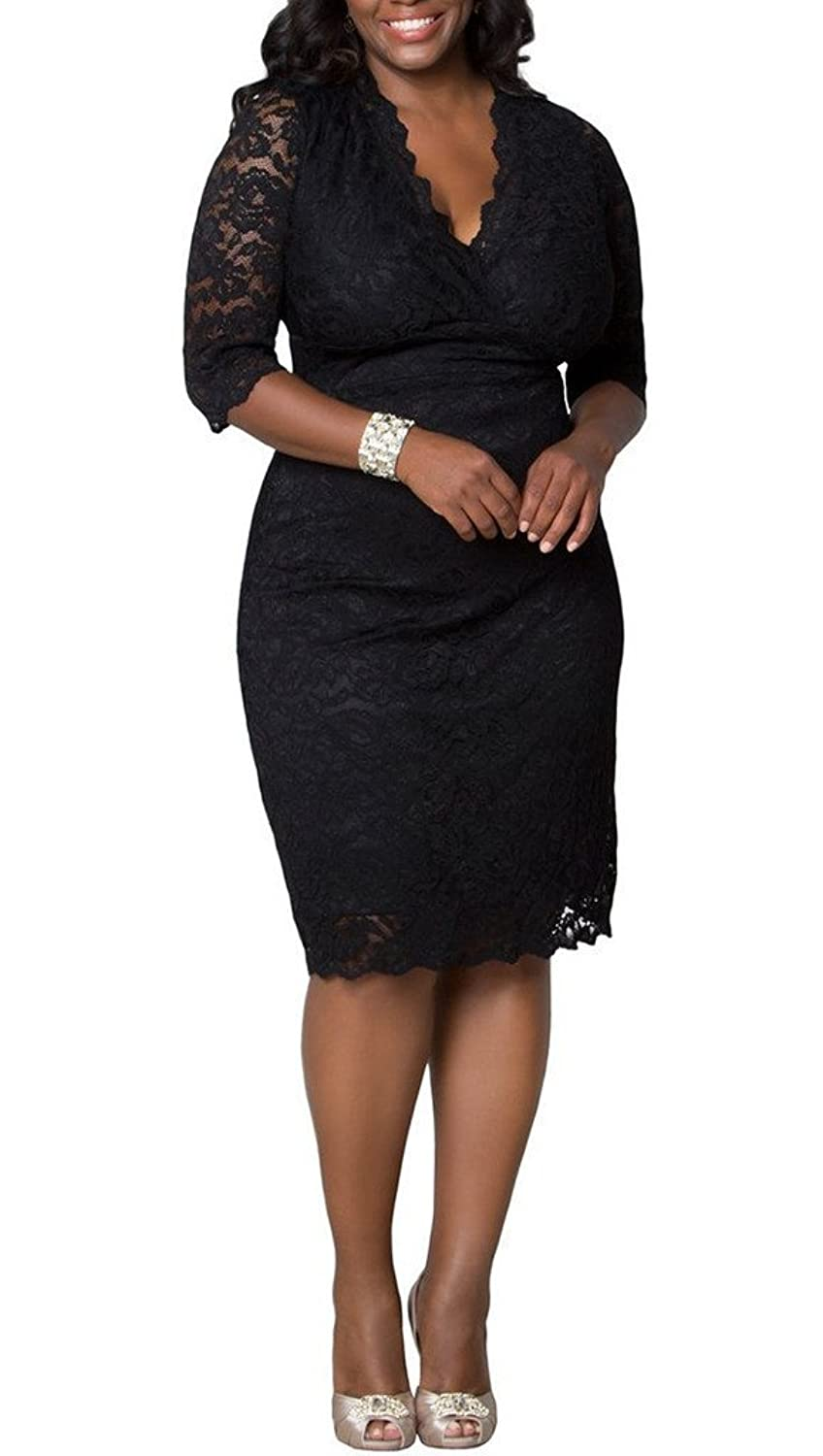 dressvip Women Plus Size Black Lace Cocktail Wedding Mother of Bride Dress