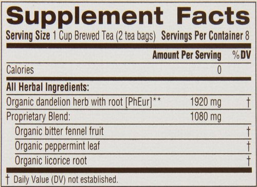 Traditional Medicinals Organic Dandelion Everyday Detox Tea, 16 bags (Pack of 6)